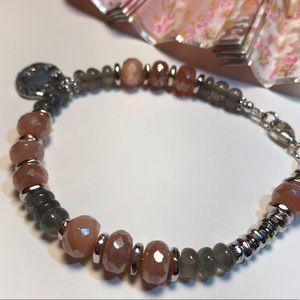 brindleracerdesigns Jewelry - Glorious Labradorite & Pink Moonstone Bracelet